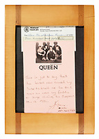 BNPS.co.uk (01202 558833)<br /> Pic: Bonhams/BNPS<br /> <br /> Provenance.<br /> <br /> A pair of flamboyant trousers Freddie Mercury wore during Queen's final tour have sold for over £20,000.<br /> <br /> The iconic white bottoms feature two red and gold stripes down the outside legs and were paired by Mercury with a trademark white vest and yellow military-style jacket.<br /> <br /> He wore the trousers throughout Queen's 1986 'Magic' tour which included two sold-out shows at the old Wembley Stadium.<br /> <br /> They were bought for £450 at a charity auction in 1987 by Queen fan Susie Mitchell who has now sold them on.