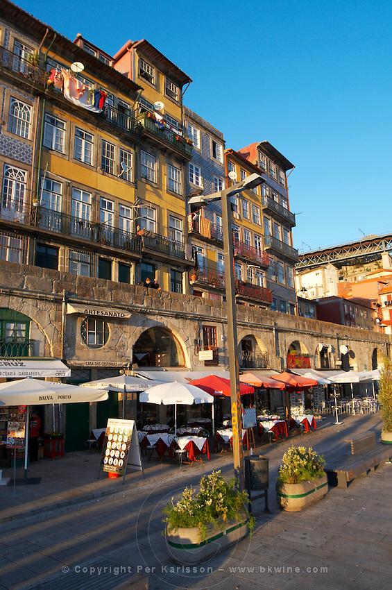 restaurant terrace house facades cais da ribeira porto portugal