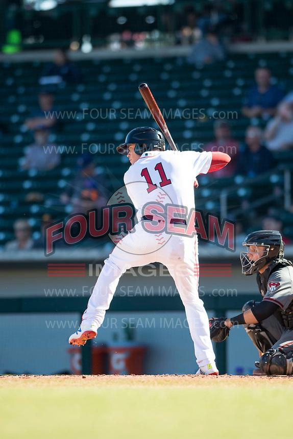 Mesa Solar Sox designated hitter Bobby Dalbec (11), of the Boston Red Sox organization, at bat during an Arizona Fall League game against the Salt River Rafters at Sloan Park on November 9, 2018 in Mesa, Arizona. Mesa defeated Salt River 5-4. (Zachary Lucy/Four Seam Images)