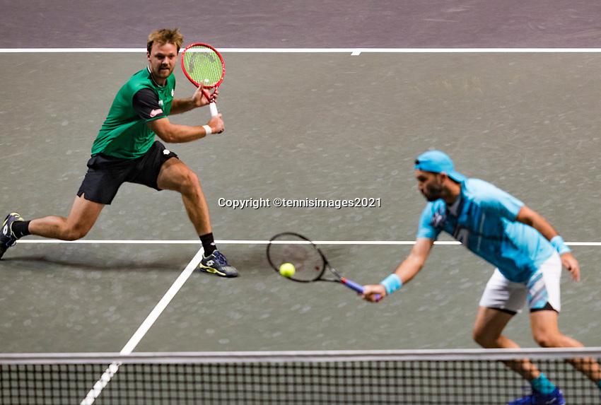 Rotterdam, The Netherlands,7 march  2021, ABNAMRO World Tennis Tournament, Ahoy,  <br /> Doubles final: Kevin Krawietz (GER) / Horia Tecau (ROU).<br /> Photo: www.tennisimages.com/henkkoster