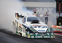Sept. 16, 2012; Concord, NC, USA: NHRA funny car driver Mike Neff during the O'Reilly Auto Parts Nationals at zMax Dragway. Mandatory Credit: Mark J. Rebilas-