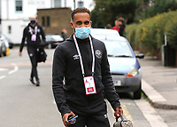 Bryan Mbeumo of Brentford arrives at the ground ahead of kick-off wearing a mask during Brentford vs Preston North End, Sky Bet EFL Championship Football at Griffin Park on 15th July 2020
