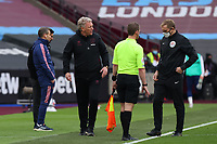 21st March 2021; London Stadium, London, England; English Premier League Football, West Ham United versus Arsenal; West Ham United Manager David Moyes calls out to referee Jonathan Moss