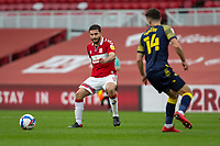 13th March 2021; Riverside Stadium, Middlesbrough, Cleveland, England; English Football League Championship Football, Middlesbrough versus Stoke City; Sam Morsy of Middlesbrough  passes the ball behind Tommy Smith of Stoke City