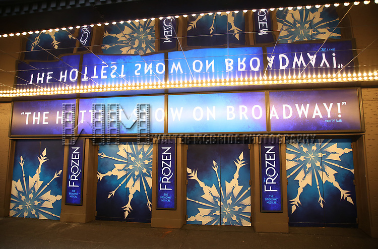 "Theatre Marquee unveiling for ""Frozen"" starring Cassie Levy at the St. James Theatre on February 18, 2019 in New York City."