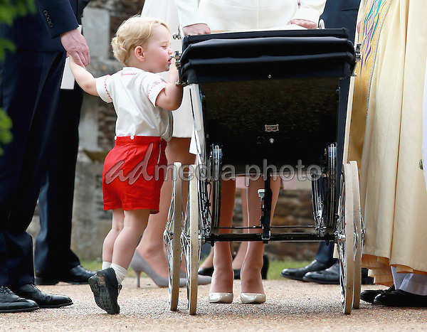 05 July 2015 - King's Lynn, United Kingdom - Prince George of Cambridge. The Christening of Princess Charlotte of Cambridge at the Church of St Mary Magdalene on the Sandringham Estate. Photo Credit: Alpha Press/AdMedia