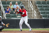 Zach Remillard (23) of the Kannapolis Intimidators at bat against the Charleston RiverDogs at Kannapolis Intimidators Stadium on August 3, 2016 in Kannapolis, North Carolina.  The Intimidators defeated the RiverDogs 8-4.  (Brian Westerholt/Four Seam Images)