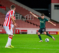 23rd December 2020; Bet365 Stadium, Stoke, Staffordshire, England; English Football League Cup Football, Carabao Cup, Stoke City versus Tottenham Hotspur; A 70 minute goal by Ben Davies of Tottenham Hotspur is smahed in from long range and makes the score 1-2