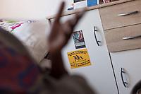 Antifascist stickers in the flat of refugees from Eritrea.<br /> 13.2.2015, Dresden<br /> Copyright: Christian-Ditsch.de<br /> [Inhaltsveraendernde Manipulation des Fotos nur nach ausdruecklicher Genehmigung des Fotografen. Vereinbarungen ueber Abtretung von Persoenlichkeitsrechten/Model Release der abgebildeten Person/Personen liegen nicht vor. NO MODEL RELEASE! Nur fuer Redaktionelle Zwecke. Don't publish without copyright Christian-Ditsch.de, Veroeffentlichung nur mit Fotografennennung, sowie gegen Honorar, MwSt. und Beleg. Konto: I N G - D i B a, IBAN DE58500105175400192269, BIC INGDDEFFXXX, Kontakt: post@christian-ditsch.de<br /> Bei der Bearbeitung der Dateiinformationen darf die Urheberkennzeichnung in den EXIF- und  IPTC-Daten nicht entfernt werden, diese sind in digitalen Medien nach §95c UrhG rechtlich geschuetzt. Der Urhebervermerk wird gemaess §13 UrhG verlangt.]