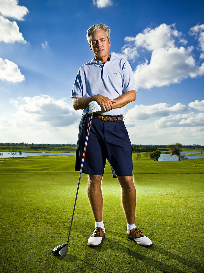 """Author Carl Hiaasen photographed in Vero Beach, Florida, for """"The Downhill Lie"""""""