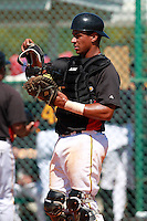 Pittsburgh Pirates minor league catcher Elias Diaz (68) vs. the Philadelphia Phillies in an Instructional League game at Pirate City in Bradenton, Florida;  October 6, 2010.  Photo By Mike Janes/Four Seam Images