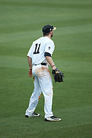 Wake Forest Demon Deacons left fielder Jonathan Pryor (11) on defense against the Florida Gators in Game Two of the Gainesville Super Regional of the 2017 College World Series at Alfred McKethan Stadium at Perry Field on June 11, 2017 in Gainesville, Florida.  (Brian Westerholt/Four Seam Images)