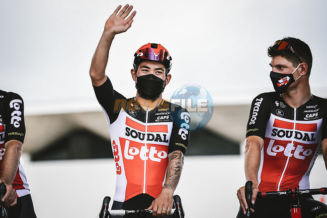 Caleb Ewan (AUS) Lotto-Soudal at sign on before Stage 3 of the 2021 Tour de France, running 182.9km from Lorient to Pontivy, France. 28th June 2021.  <br /> Picture: A.S.O./Pauline Ballet | Cyclefile<br /> <br /> All photos usage must carry mandatory copyright credit (© Cyclefile | A.S.O./Pauline Ballet)