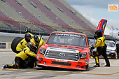 NASCAR Camping World Truck Series<br /> LTI Printing 200<br /> Michigan International Speedway, Brooklyn, MI USA<br /> Saturday 12 August 2017<br /> Cody Coughlin, Ride TV/ Jegs Toyota Tundra pit stop<br /> World Copyright: Matthew T. Thacker<br /> LAT Images