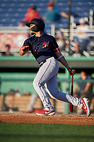State College Spikes Stanley Espinal (21) bats during a NY-Penn League game against the Batavia Muckdogs on July 1, 2019 at Dwyer Stadium in Batavia, New York.  Batavia defeated State College 5-4.  (Mike Janes/Four Seam Images)