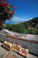 Local crafts on display overlooking the coastline, Puerto Vallarta, Mexico
