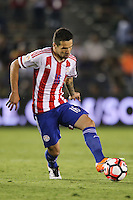 Pasadena, CA - Tuesday June 07, 2016: Paraguay midfielder Celso Ortiz (16) during a Copa America Centenario Group A match between Colombia (COL) and Paraguay (PAR) at Rose Bowl Stadium.
