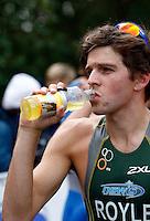 Photo: Richard Lane/Richard Lane Photography. GE Parc Bryn Bach Triathlon. 19/09/2010. Aaron Royle drinks Maxifuel after the Super Series Elite Mens' race.