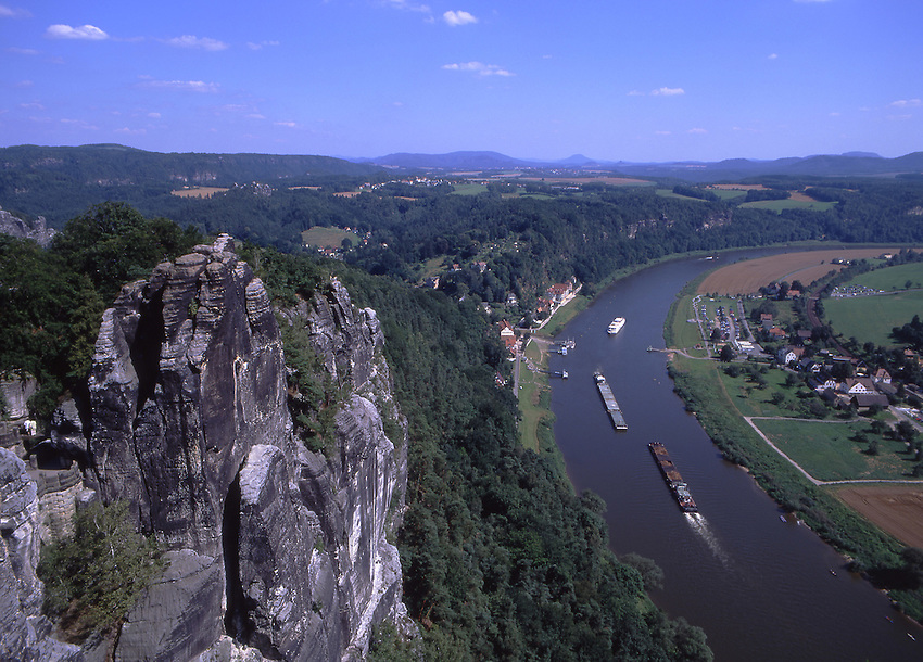 Europe, DEU, Germany, Saxony, Swiss Saxony, Elbsandsteingebirge,Typical view of the Elbe River from Bastei, Transporter....[ For each utilisation of my images my General Terms and Conditions are mandatory. Usage only against use message and proof. Download of my General Terms and Conditions under http://www.image-box.com or ask for sending. A clearance before usage is necessary...Material is subject to royalties. Each utilisation of my images is subject to a fee in accordance to the present valid MFM-List...Contact | archive@image-box.com | www.image-box.com ]