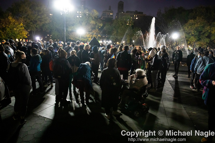 Demonstrators gather in Washington Square Park during a protest demanding every vote cast be counted in the 2020 presidential election between U.S. President Donald Trump and former Vice President Joe Biden on November 4, 2020 in New York City.  Photograph by Michael Nagle