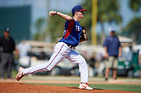 Christian Ruebeck during the WWBA World Championship at the Roger Dean Complex on October 21, 2018 in Jupiter, Florida.  Christian Ruebeck is a right handed pitcher from Denison, Texas who attends Denison High School and is committed to Oklahoma.  (Mike Janes/Four Seam Images)