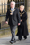 © Joel Goodman - 07973 332324 . 16/01/2014 . Salford , UK . The ceremonial mayor and mayoress of Salford arrive at the funeral . The funeral of Labour MP Paul Goggins at Salford Cathedral today (Thursday 16th January 2014) . The MP for Wythenshawe and Sale East died aged 60 on 7th January 2014 after collapsing whilst out running on 30th December 2013 . Photo credit : Joel Goodman