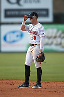 Kannapolis Intimidators second baseman Tate Blackman (20) on defense against the Lakewood BlueClaws at Kannapolis Intimidators Stadium on April 8, 2018 in Kannapolis, North Carolina.  The Intimidators defeated the BlueClaws 4-3 in game two of a double-header.  (Brian Westerholt/Four Seam Images)
