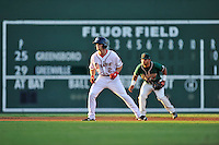Center fielder Andrew Benintendi (2) of the Greenville Drive runs the bases in a game against the Greensboro Grasshoppers on Wednesday, August 26, 2015, at Fluor Field at the West End in Greenville, South Carolina. Benintendi is a first-round pick of the Boston Red Sox in the 2015 First-Year Player Draft out of the University of Arkansas. Greenville won, 7-0. (Tom Priddy/Four Seam Images)