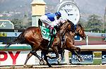 ARCADIA, CA  APRIL 3: #3 Soothsay, ridden by Flavien Prat, edges #5 Beautiful Gift, ridden by John Velazquez, wins the Santa Anita Oaks (Grade ll) on April 3, 2021 at Santa Anita Park, in Arcadia, CA. (Photo by Casey Phillips/ Eclipse Sportswire/ CSM)