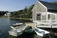 Cape Cod, Massachusetts.Small boats cluster in the tidy harbor of Harwichport on Cape Cod's south shore.
