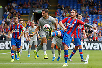 Matthew Leckie of Hertha Berlin goes in bravely against Conor Wickham of Crystal Palace during the pre season friendly match between Crystal Palace and Hertha BSC at Selhurst Park, London, England on 3 August 2019. Photo by Carlton Myrie / PRiME Media Images.