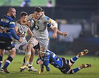 8th January 2021; Recreation Ground, Bath, Somerset, England; English Premiership Rugby, Bath versus Wasps; Jack Willis of Wasps is tackled by Ben Spencer of Bath