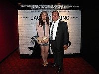 """Pictured: Club announcer and chaplain Kevin Johns (R) with his daughter Bethan. Friday 12 September 2014<br /> Re: Premiere of """"Jack To A King"""" a film about the history of Swansea City Football Club, at The Empire Cinema in Leicester Square, London, UK."""