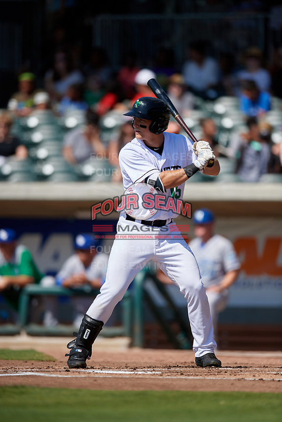 Augusta GreenJackets Shane Matheny (15) at bat during a South Atlantic League game against the Lexington Legends on April 30, 2019 at SRP Park in Augusta, Georgia.  Augusta defeated Lexington 5-1.  (Mike Janes/Four Seam Images)