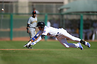 Mesa Solar Sox outfielder Albert Almora (8), of the Chicago Cubs organization, slides into second during an Arizona Fall League game against the Scottsdale Scorpions on October 15, 2013 at HoHoKam Park in Mesa, Arizona.  Mesa defeated Scottsdale 7-4.  (Mike Janes/Four Seam Images)