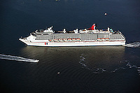 aerial view above Carnival Cruise Ship Spirit San Diego harbor California