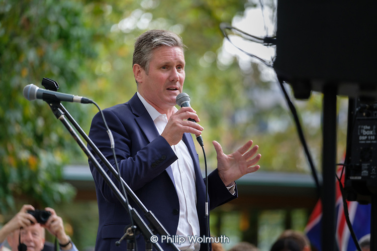 Kier Starmer.  Camden Together Defending Democracy.  Local rally with Councillors, MPs, trade unionists and campaigners to protest against the prorogation of Parliament by Prime Minister Boris Johnson.  Russell Square,  London.