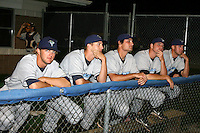 August 13, 2009:  Pitchers Clayton Dill, Evan Bronson, Federico Tanco, Gary Amato, and Steven Stewart of the Vermont Lake Monsters in the bullpen during a game at Dwyer Stadium in Batavia, NY.  The Lake Monsters are the Short-Season Class-A affiliate of the Washington Nationals.  Photo By Mike Janes/Four Seam Images