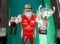 Schumacher Mick (ger), Prema Racing, Dallara F2 2018, portrait, ambiance celebrating victory during the 8th round of the 2020 FIA Formula 2 Championship from September 4 to 6, 2020 on the Autodromo Nazionale di Monza, in Monza, near Milano, Italy <br /> Monza 05-09-2020 Formula 2 GP Monza<br /> Photo Florent Gooden/DPPI/Panoramic/Insidefoto <br /> ITALY ONLY