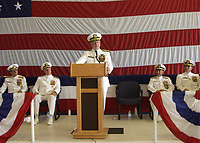 U.S. Navy Rear Adm. James Stevenson Jr., commander of U.S. Naval Forces Southern Command, addresses the audience during his retirement ceremony in Mayport, Fla., July 12, 2008. The ceremony was also held to reestablish U.S. 4th Fleet and observe a change of command ceremony for Naval Forces Southern Command. DoD photo by Mass Communication Specialist 1st Class Leah Stiles, U.S. Navy. (Released)