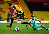 Stipe Perica of Watford skips past Goalkeeper Michael McGovern of Norwich City during the Sky Bet Championship behind closed doors match played without supporters with the town in tier 4 of the government covid-19 restrictions, between Watford and Norwich City at Vicarage Road, Watford, England on 26 December 2020. Photo by Andy Rowland.