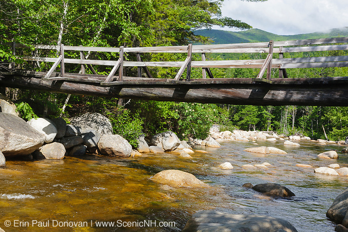 North Fork junction footbridge, which crosses the East Branch of the Pemigewasset River along the Thoreau Falls Trail in Pemigewasset Wilderness of Lincoln, New Hampshire.
