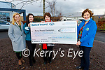 Paula, Aoife and Siobhan McSweeney from Killarney presenting €7,000 to Mary Shanahan of the Kerry Hospice Palliative Care on Friday from a fundraiser in the memory of the late Donal McSweeney.