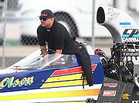 Feb 11, 2017; Pomona, CA, USA; NHRA top alcohol dragster driver James Day during the Winternationals at Auto Club Raceway at Pomona. Mandatory Credit: Mark J. Rebilas-USA TODAY Sports