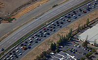 aerial photograph of heavy traffic on US Highway 101 in Marin County, California approaching Novato.