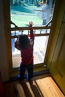 Baby boy looking through screen door, reaching up