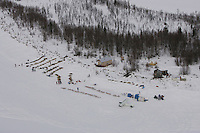 An aerial view of the half-way Iditarod checkpoint.  2005 Iditarod Trail Sled Dog Race.