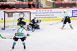 Medical Kings Defense #15 Ying Yeung (r) scores against  Verity Team Goalie #33 Sam Wong (l) during the Principal Standard League match between Medical Winner Kings vs Verity at the Mega Ice on 17 January 2017 in Hong Kong, China. Photo by Marcio Rodrigo Machado / Power Sport Images