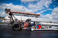 Jul 12, 2020; Clermont, Indiana, USA; NHRA top fuel driver Antron Brown during the E3 Spark Plugs Nationals at Lucas Oil Raceway. This is the first race back for NHRA since the start of the COVID-19 global pandemic. Mandatory Credit: Mark J. Rebilas-USA TODAY Sports