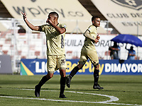 RIONEGRO - COLOMBIA, 24-02-2021: Oscar Hernandez de Aguilas Doradas Rionegro celebra el gol anotado a La Equidad durante partido de la fecha 9 entre Aguilas Doradas Rionegro y La Equidad por la Liga BetPlay DIMAYOR I 2021, jugado en el estadio Alberto Grisales de la ciudad de Rionegro. / Oscar Hernandez of La Equidad celebrates a goal scored to La Equidad during a match of the 9th date between Aguilas Doradas Rionegro and La Equidad for the BetPlay DIMAYOR I 2021 League, played at Alberto Grisales stadium in Rionegro city. / Photo: VizzorImage / Juan Cardona / Cont.